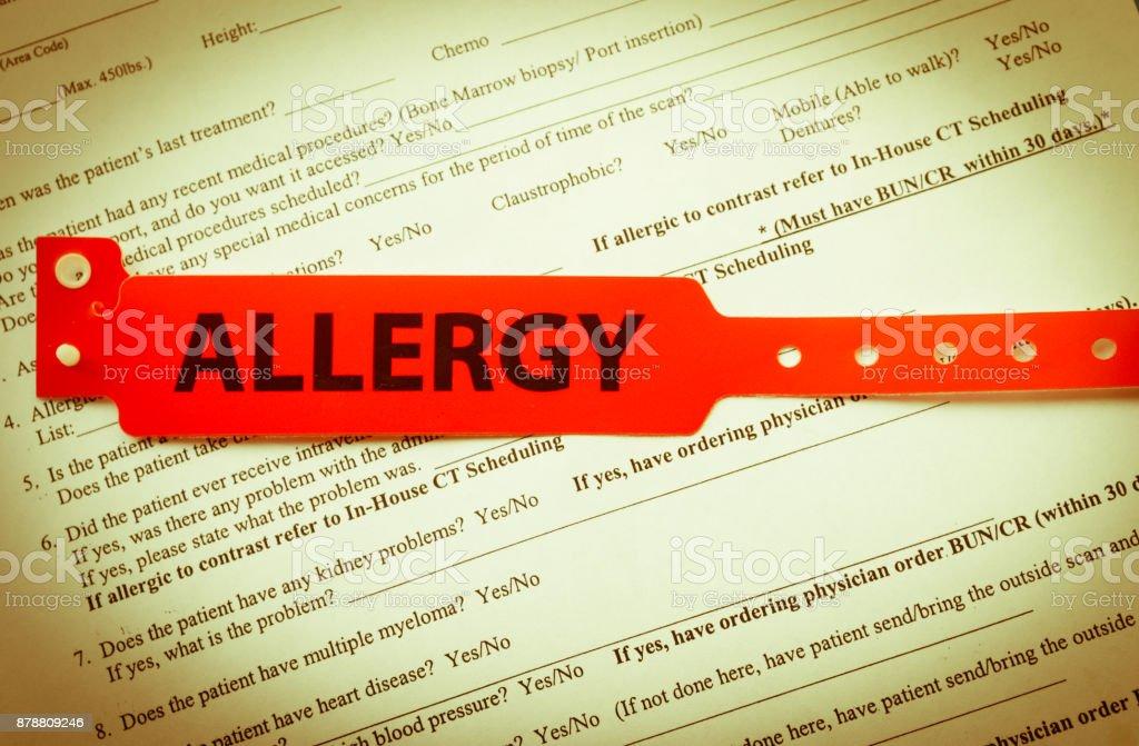 Red Allergy Bracelet stock photo