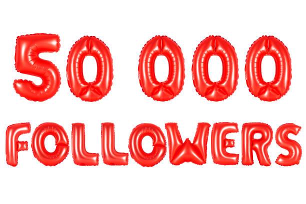 red alphabet balloons, 50K (fifty thousand) followers stock photo