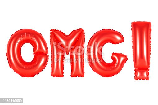 istock red alphabet balloons, acronym and abbreviation, omg 1139445699