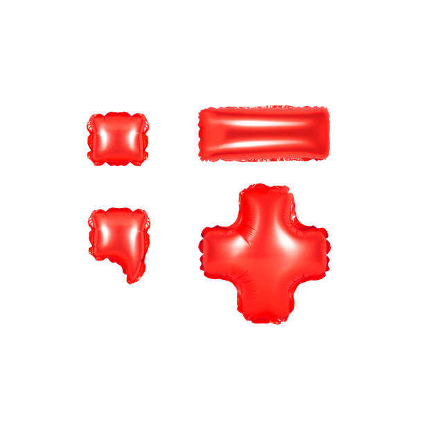 red alphabet balloons, punctuation marks, part 2 stock photo