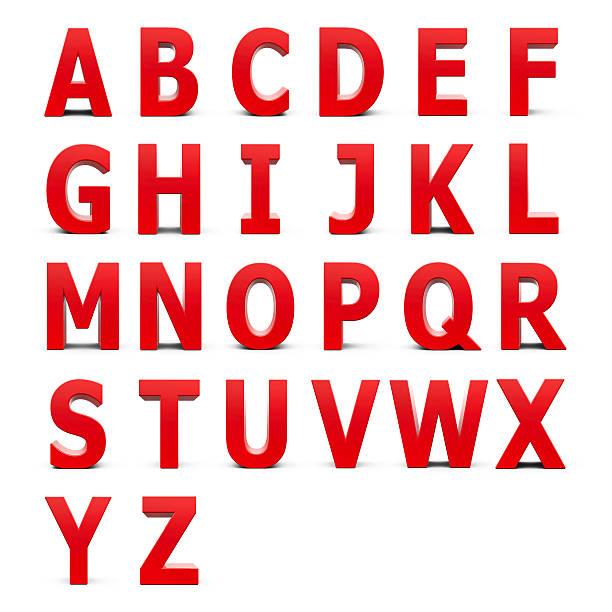 Red Alphabet set - foto stock