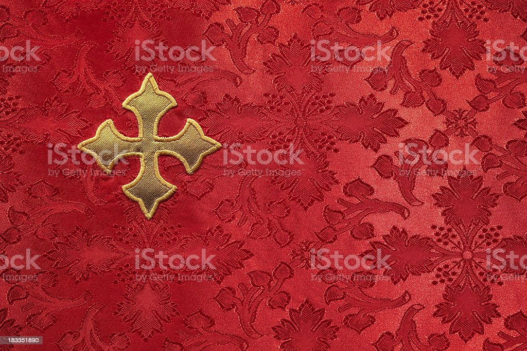 Red Altar Cloth with Gold Cross stock photo