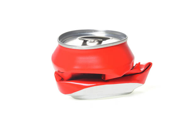 red aluminum can flattened - crush stock pictures, royalty-free photos & images