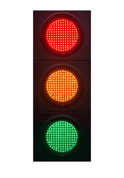 赤色、琥珀色、緑の光、クリッピングパス ストックフォト