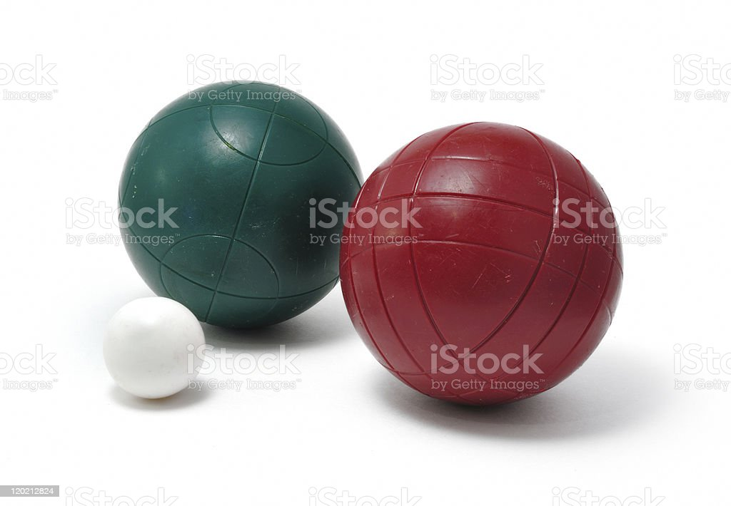 Red & Green Bocce Balls and Pallino (Jack or Boccino) stock photo