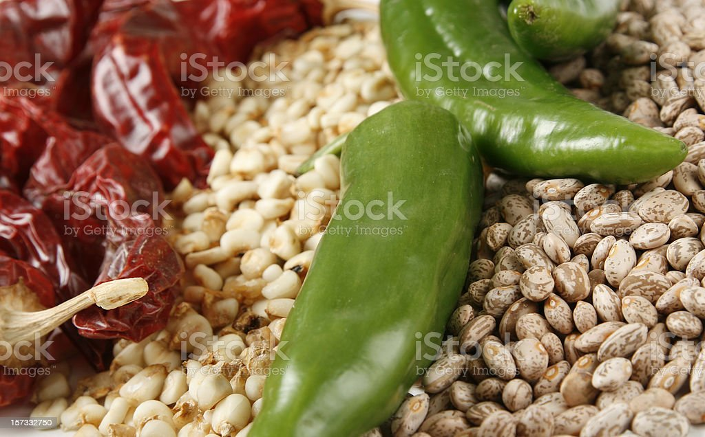 Red & Green Chili Peppers Hominy and Beans stock photo