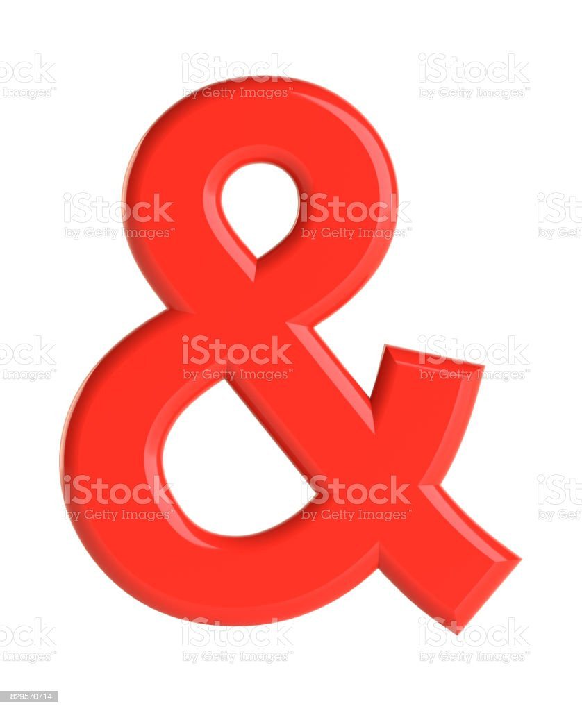 Red ampersand character. 3D illustration stock photo