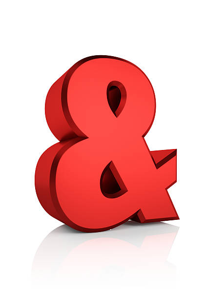 3D Red Ampersand Sign stock photo