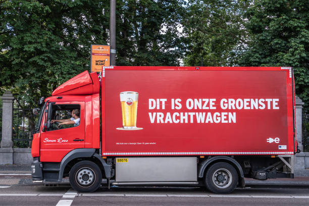 Red Amstel Beer delivery truck in Amsterdam Netherlands. stock photo