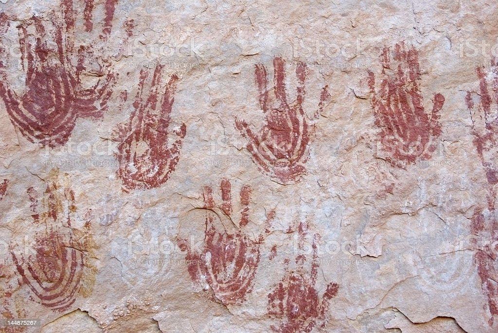 Red Anasazi Handprints stock photo