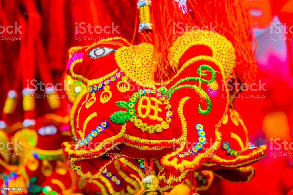 Red Ancient Dogs Chinese Lunar New Year Decorations Beijing China stock photo