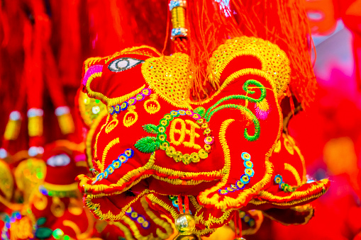 Red Ancient Dogs Chinese Lunar New Year Decorations ...
