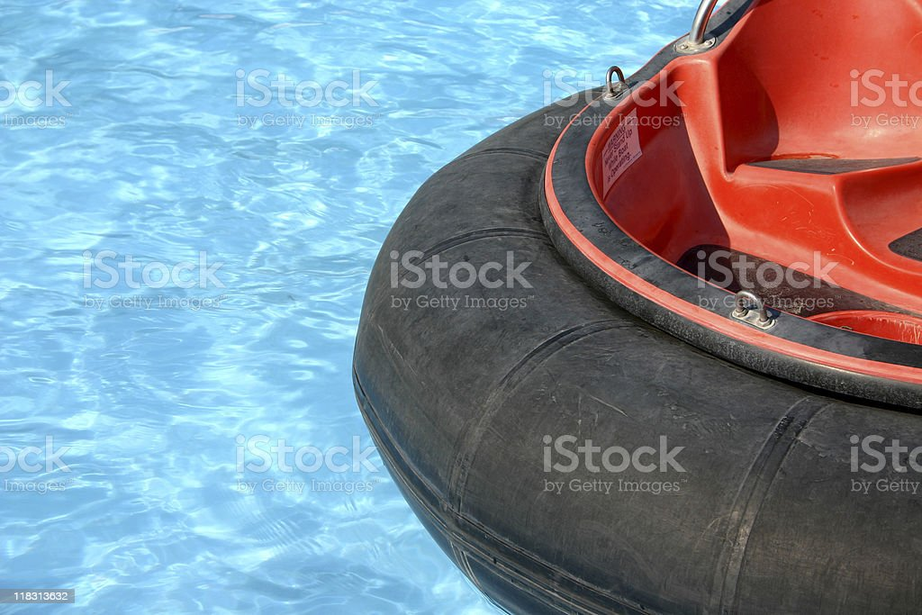 Red and black bumper boat stock photo