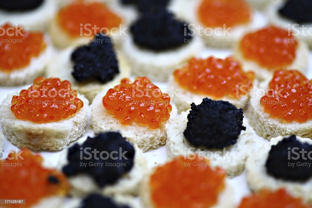 Red and black caviar stock photo