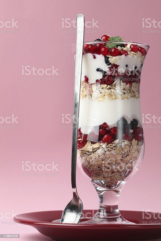 Red and black currant parfait royalty-free stock photo