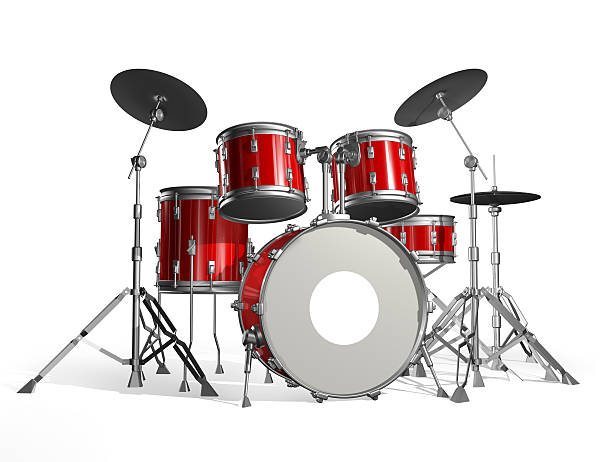Red and black drum kit with a white background stock photo