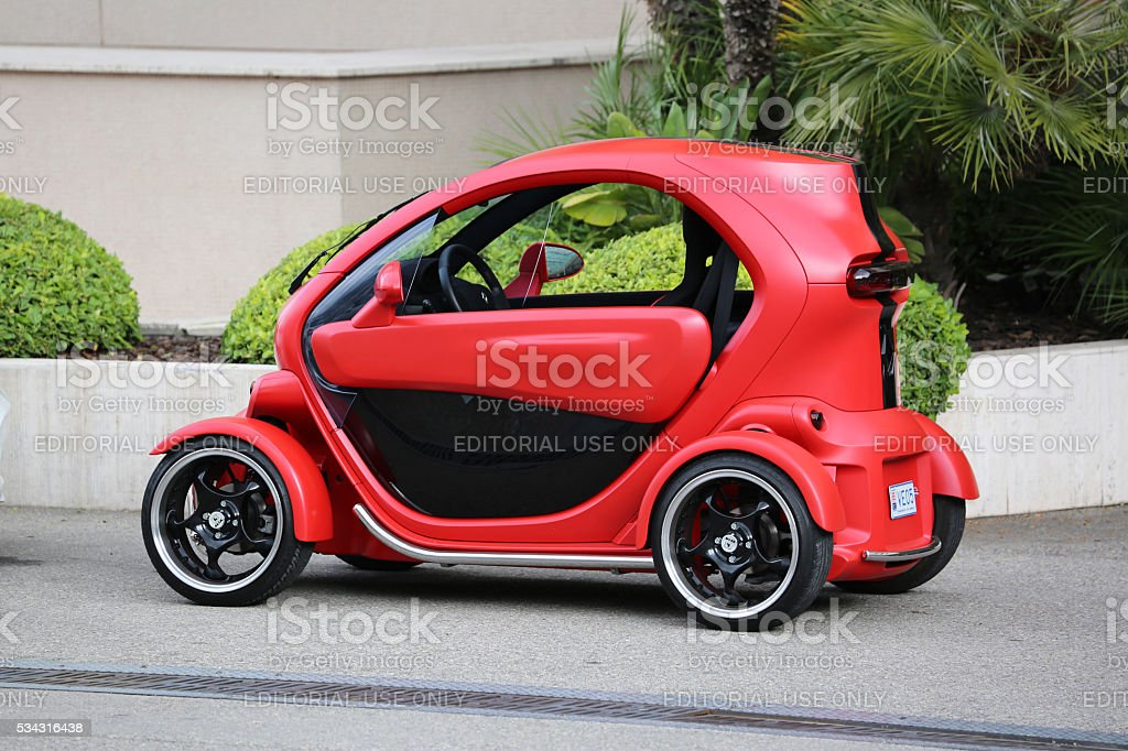 Red and Black Electric Car Renault Twizy in Monte-Carlo, Monaco stock photo