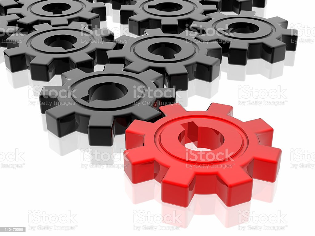 Red and black gears illustration stock photo