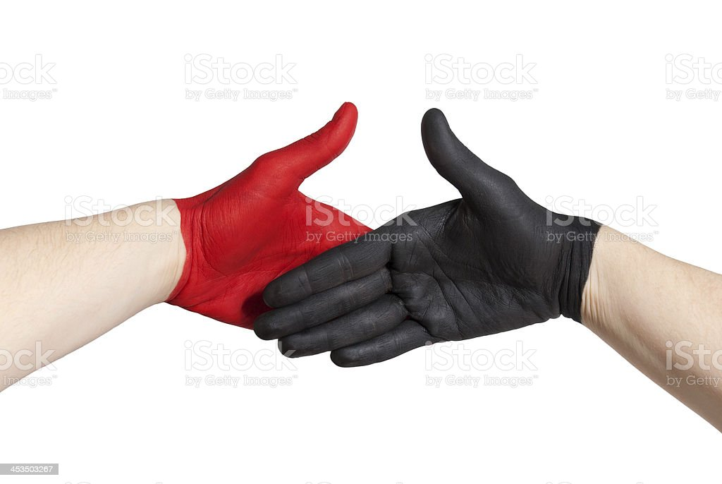red and black handshake royalty-free stock photo