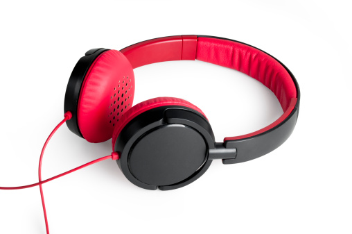 Red Headphones, isolated on white, with clipping path.