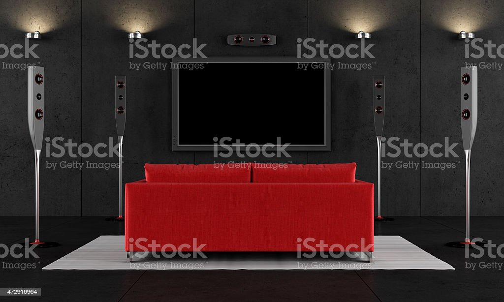 Red and black home cinema stock photo