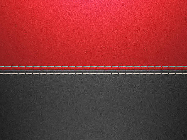 red and black horizontal stitched leather background - seam stock photos and pictures