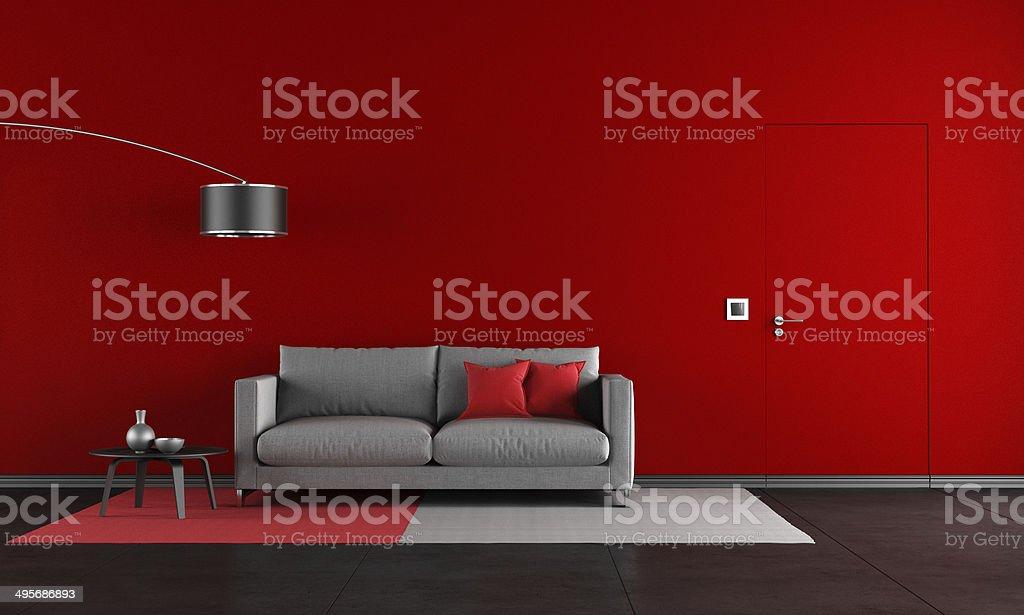 Rosso e nero soggiorno - foto stock