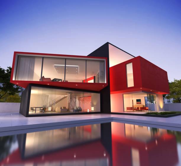 Maison moderne rouge et noire - Photo
