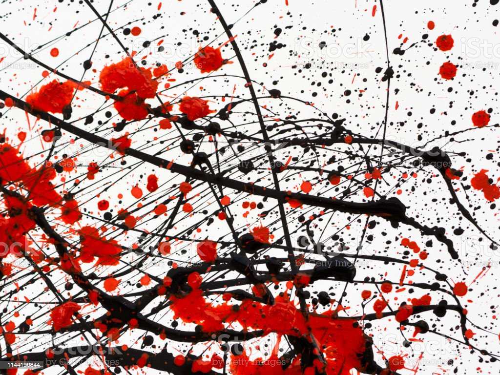 Red And Black Paint Drips On White Background Stock Photo Download Image Now