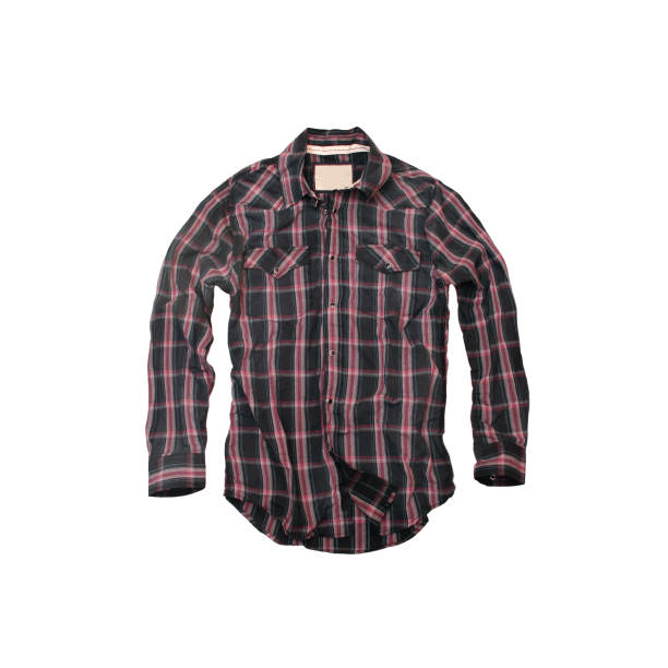 Red and Black Plaid Cowboy-Shirt on a White Background A buffalo plaid shirt with metal snap-buttons. plaid shirt stock pictures, royalty-free photos & images