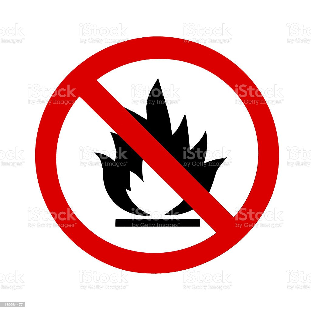 Red and black round fire ban sign symbol stock photo