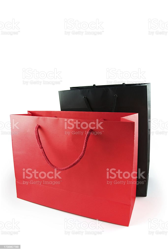 red and black shopping bags on white background royalty-free stock photo