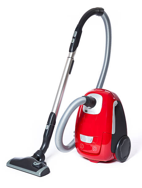 red and black small vacuum cleaner - stofzuiger stockfoto's en -beelden