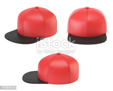 istock Red and black snap back mock up, blank hat template, various views 970830152