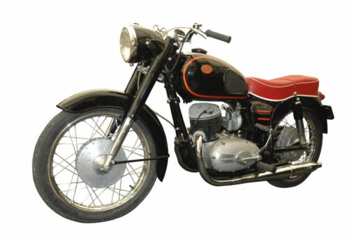 red and black vintage motorcycle