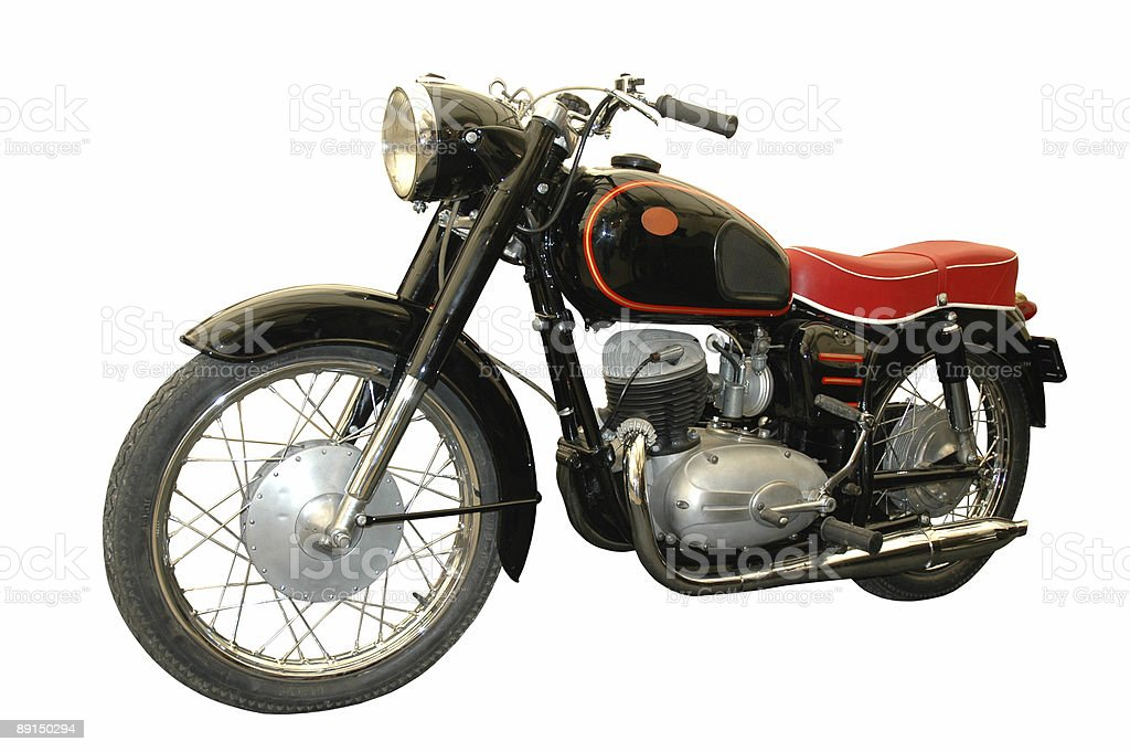 red and black vintage motorcycle stock photo