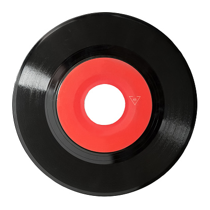 A Red And Black Vinyl Record On White Stock Photo - Download Image Now