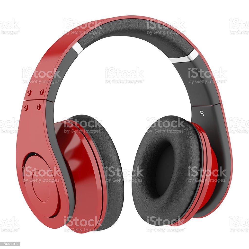 Rosso e nero con le cuffie wireless isolato su sfondo bianco foto stock  royalty-free 256aae6e42ba