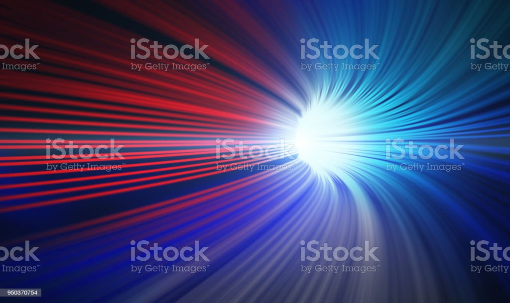 Red and blue abstract speed motion in highway tunnel for technology background ,fast moving toward the light, 3d illustration stock photo