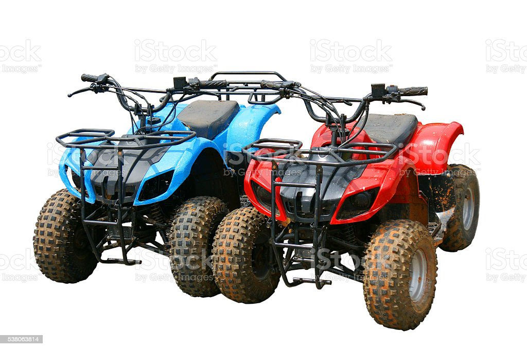 Red and blue ATV quad bike in Thailand (isolated) stock photo