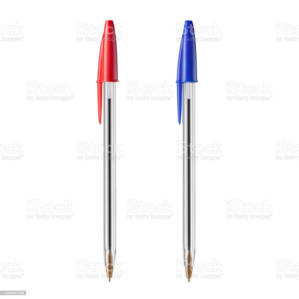 Red and blue ballpoint pens on white background stock photo