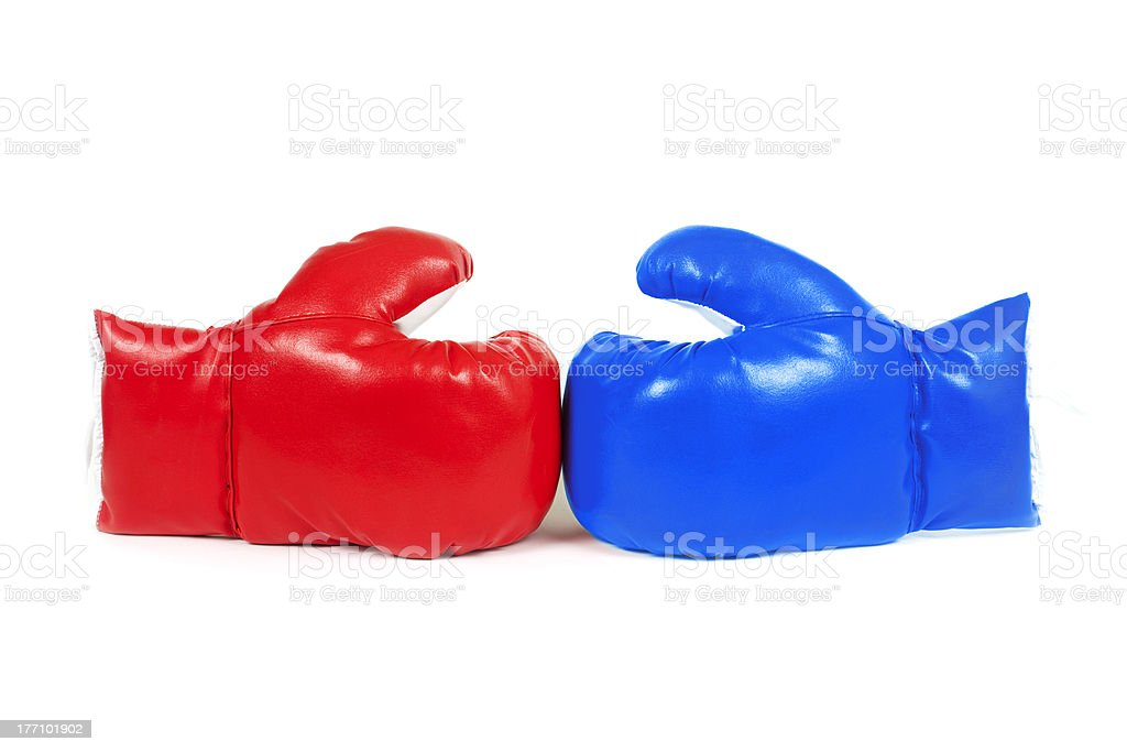 Red and blue boxing gloves isolated on white. royalty-free stock photo