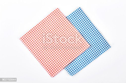 istock Red and blue checkered napkins. 902753544
