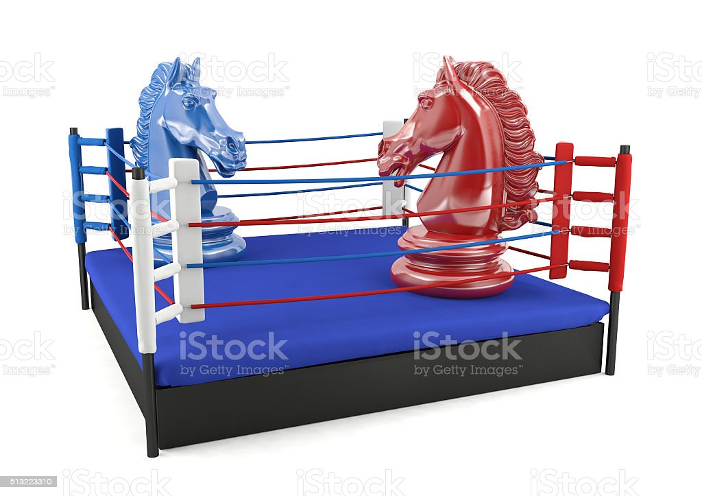 Red and blue chess knight confronting in boxing ring stock photo