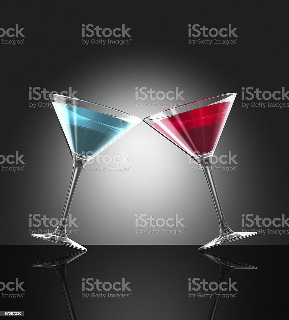 red and blue cocktail glasses royalty-free stock photo