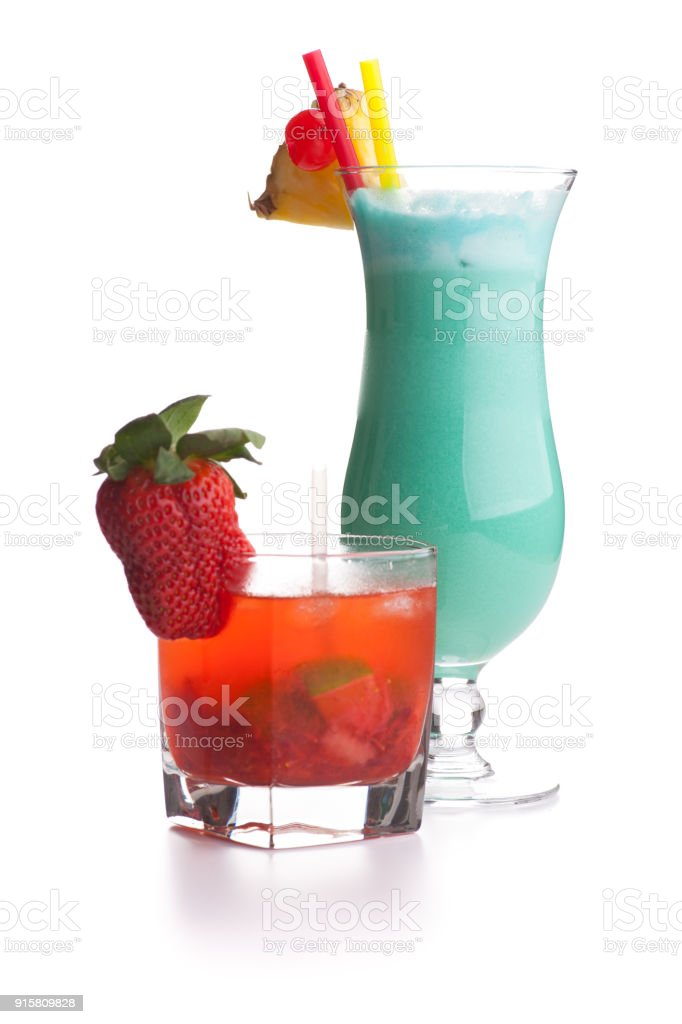 Red and blue cocktail isolated on white background stock photo