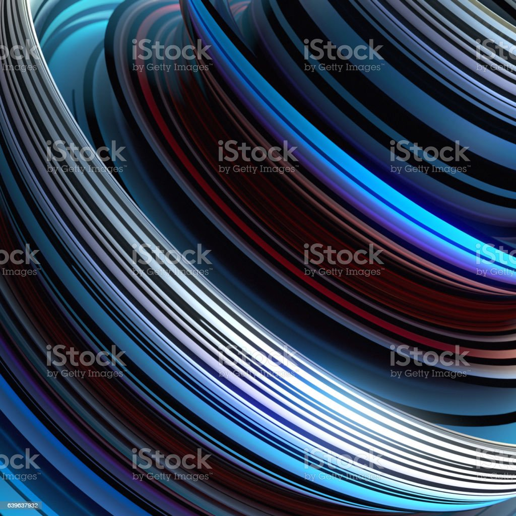 Red and blue colored twisted shape. 3D render illustration stock photo