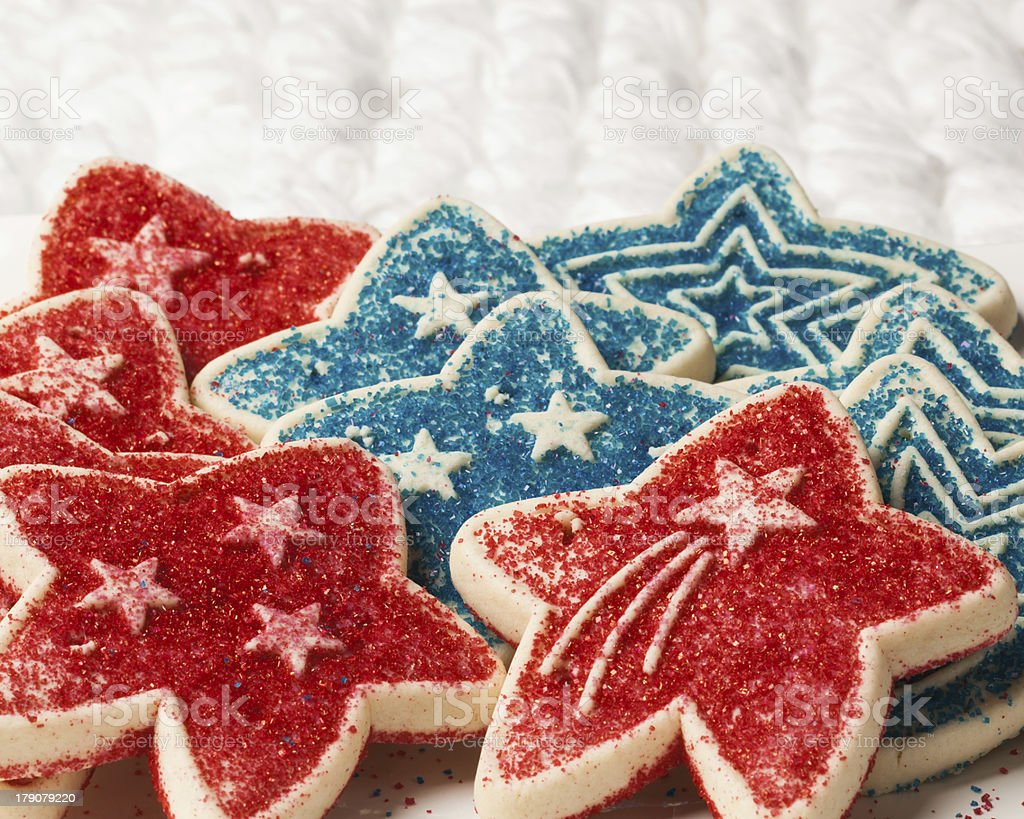Red and Blue Cookies on a White Background stock photo