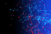 Red and blue digital data and network connection triangle lines and spheres in technology concept on black background, 3d abstract illustration
