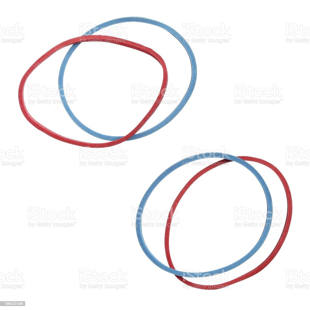 Red and blue elastic rubber bands isolated on white royalty-free stock photo